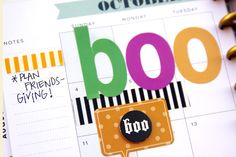 'BOO' Happy Planner monthly Halloween layout by mambi Design Team member Jennie McGarvey | me & my BIG ideas