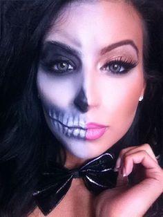 makeup halloween squellette, makeup half skull
