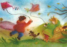 Herbst - Postkarte Jahreszeitentisch Sertori-Kopp - ein Designerstück von Barbarillia bei DaWanda