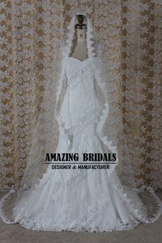 Ivory 1 Tier Chapel Train Length Venice Lace Trim Wedding Veil Bridal Veils