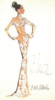 Bob Mackie costume Sketch for Cher circa 1970's (*note - Zuhair Murad and Michael Costello have done similar gowns recently for Jennifer Lopez and Beyoncé respectively).