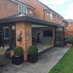 Backyard Renovations, Kitchen Diner Extension, House, Bifold Doors, Flat Roof Extension, Bifold Doors Onto Patio, Conservatory Design, Bungalow Exterior, House Extension Design
