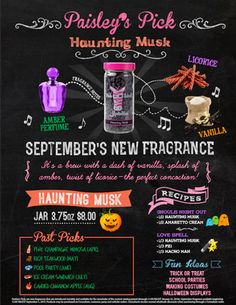 Paisley's September Pick  Haunting Musk  It's a brew with a dash of vanilla, splash of amber, twist of licorice  - the perfect concoction!