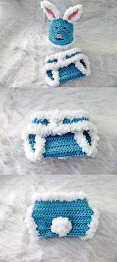 Cotton Tail Easter Beanie and Diaper Cover. Free pattern.