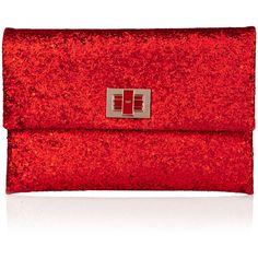 Anya Hindmarch Red Valorie Glitter Clutch ($385) ❤ liked on Polyvore