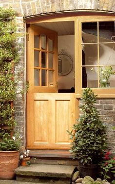 I love the width of these double half doors. Makes it really easy to move things in and out of the house. Half Doors, Windows And Doors, Arched Doors, Cottage Door, External Doors, Garden Doors, House Doors, Kitchen Doors, Entrance Doors