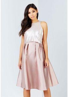 29d23b8d51113 Little Mistress Mink Sequin Top Midi Dress Size UK 12 LF170 GG 10  fashion