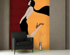 art deco style wall mural