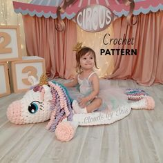 "Crochet Pattern ""Mia Unicorn"" made of ALize Puffy yarn – 12 skeins (or Bernat Alize Blanket-EZ and Twist Loopyti Loop – 3 skeins pink color,. Crochet Easter, Crochet Mat, Easter Crochet Patterns, Crochet Motifs, Baby Patterns, Crochet Hooks, Arm Crocheting, Tutorial Amigurumi, Finger Crochet"