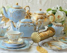 Afternoon Tea with Vintage Blue Bone China and Gold Macaron Tray