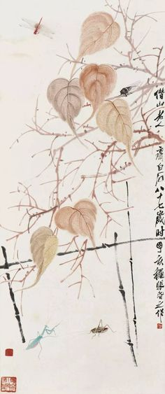 Qi Bai Shi - Chinese traditional fine line painting Master - Branches & Insects