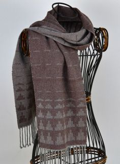 Handwoven Cashmere and Silk Ziggurat Scarf in Fox Brown and Silver Grey - perfect for Christmas, £99.50