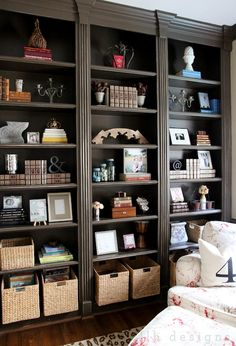 small dark brown bookcase this with basic bookshelves and crown molding small dark brown bookshelf Library Shelves, Bookcase Shelves, Built In Bookcase, Shelving, Wall Shelves, Painted Bookcases, Barrister Bookcase, Corner Shelves, Book Shelves