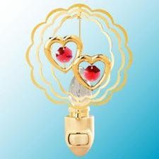 Double Hearts in Ruffled Circles Night Light..... With Red Swarovski Austrian Crystals ** Visit the image link more details. (This is an affiliate link) #NurseryNightLights