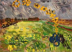 """""""Ion Ţuculescu Romanian Expressionism The River of Butterflies"""" Art Database, Butterfly, Landscape, Spring, Artwork, Painting, River, Twitter, Expressionism"""