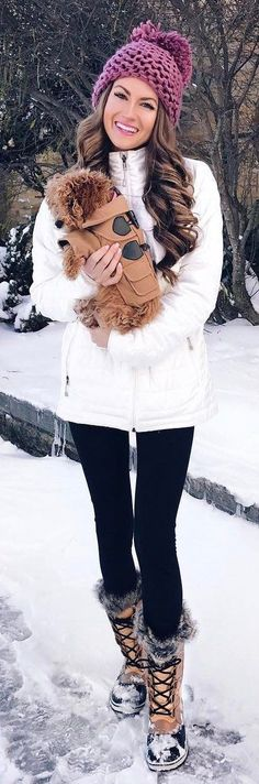 #winter #fashion /  Burgundy Beanie / White Coat / Black Leggings / Snow Boots