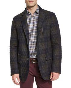 Quilted Plaid Field Jacket, Dark Gray - Etro