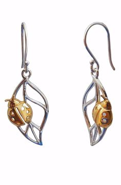 Earrings Sterling Silver Gold Plated Ladybug   Cute Jewellery Best Gift For Girl