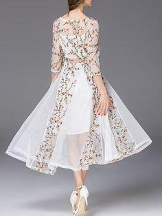 Tetelee White Chiffon 3/4 Sleeve Floral Maxi Dress