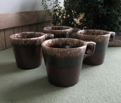 Hull Pottery Crestone Brown Coffee Mugs Set of Four (4) by LazyYVintage. http://www.etsy.com/shop/LazyYVintage