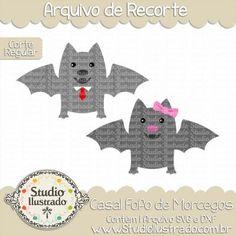 Cute Couple Bat, Casal Fofo de Morcegos, Noturno, Lacinho, Loop, Tie, Gravata, Fofinho, Fluffy, Corte Regular, Regular Cut, Silhouette, Arquivo de Recorte, DXF, SVG, PNG