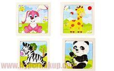 Drevené puzzle zvieratká 11 x 11 cm 4v1 Panda, Puzzle, Puzzles, Pandas, Puzzle Games, Riddles