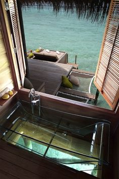 Glass-bottom tub in the Maldives.