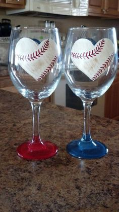 For the Love of Baseball- Wine Glass from Girl Talk Wine Glasses on Storenvy