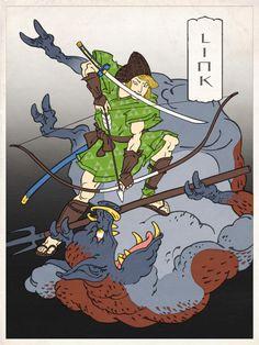 Link en peinture traditionnelle Japonaise