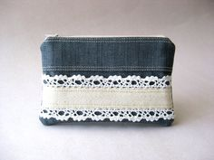 denim + lace coin purse