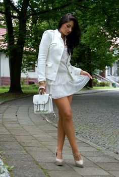 white dress and white jacket or white total look :)
