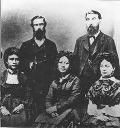 >>.Likelike, Miriam, Princess of Hawaii, 1851-1887<<  Seated l. to r: Liliuokalani,. Likelike, and Elizabeth Sumner....... Standing l. to r: John O. Dominis, Liliuokalani's husband, and Archibald Cleghorn, Likelike's husband