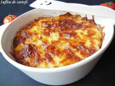 Sufleu de cartofi - A Food, Good Food, Food And Drink, Yummy Food, Main Dishes, Side Dishes, Cooking Recipes, Healthy Recipes, Healthy Food