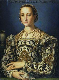 Eleonora di Toledo (born Doña Leonor Álvarez de Toledo y Osorio),  married Cosimo I de' Medici in 1539.  This Portrait is by Agnolo Bronzino possibly on the occasion of her death, in 1562.