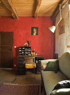 restored stone house in Cahors Interior Architecture, Interior And Exterior, Sweet Home, Room Of One's Own, Red Walls, Coral Walls, White Walls, Bohemian House, Interior Decorating