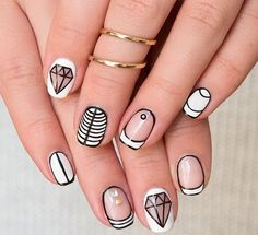 High Contrast Negative Space Nails With Diamond Nail Art.-- I like the all white and the diamond nail art French Nail Designs, Simple Nail Art Designs, Easy Nail Art, Cute Nails, Pretty Nails, My Nails, French Nails, Uñas Diy, Diamond Nail Art