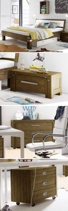 Höhenverstellbarer Nachttisch Aus Robustem Akazienholz. | Betten ... Schlafzimmer Vintage Modern