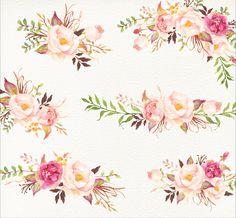 Romantic Blooms Watercolour Clip от GraphicSafari на Etsy
