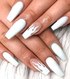 Acrylic Nails Coffin Short, Blue Acrylic Nails, Simple Acrylic Nails, Acrylic Nails For Summer, White Acrylics, White Coffin Nails, Spring Nails, Ballerina Acrylic Nails, Coffin Acrylics