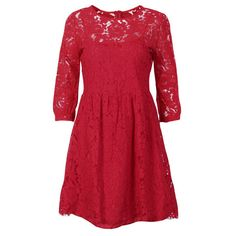 Cut-Out Floral Lace Dress ($48) ❤ liked on Polyvore featuring dresses, floral dresses, lace cut out dress, red skater dresses, floral skater dress and cut out skater dress