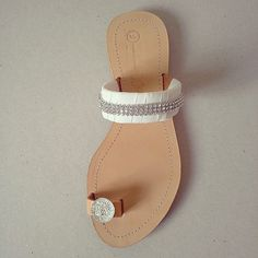 Items similar to Wedding Sandals - { Handmade leather sandals decorated with off white grosgrain ribbon, rhinestones and a flatpack bead } on Etsy Trendy Sandals, Cute Sandals, Shoes Sandals, Heels, Leather Slippers, Leather Sandals, Cute Slippers, Jeweled Sandals, Stylish Sunglasses