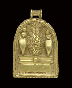 "A CARTHAGINIAN GOLD PENDANT   CIRCA 6TH CENTURY B.C.   Shrine-shaped, in Egyptianizing style, with uraei flanking a granulated ""bottle idol"" upon an altar with a cavetto cornice, a large granule in the center of the cornice, bordered with two rows of granulation framing plain wire, surmounted by a ribbed suspension loop  1 3/16 in. (3 cm.) long"