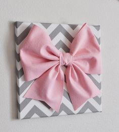 Set Of Three Wall Decor Large Gray Pink And White Bows On Chevron 12 X12 Canvases Art Baby Nursery Above Crib Pinterest