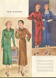Four o'clock fashions for the stylish 1930s lady.