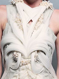 Sculptural Fashion - dress with structured symmetry & rich texture mix, inspired by sea life & natural forms found underwater - fashion as art // Chen Ariel Nachman