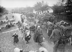 Serbian civilians on the move during the retreat to the Adriatic Sea coast, November 1915