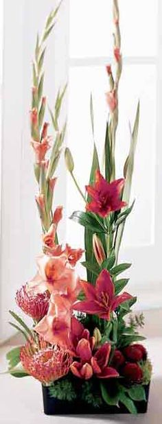 tall pink floral arrangement