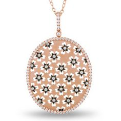 Miadora Signature Collection 18k Rose Gold 2 1/2ct TDW Black and White Diamond Necklace (G-H, I1-I2)