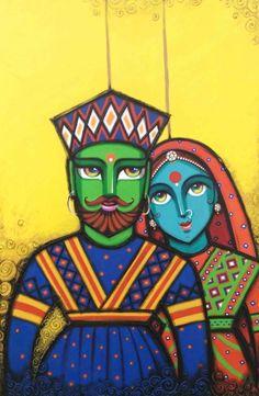 Art by Gouri Shirish Velhal Rajasthani Painting, Rajasthani Art, Modern Indian Art, Indian Folk Art, Madhubani Art, Madhubani Painting, Fabric Painting, Painting & Drawing, Art Sketches