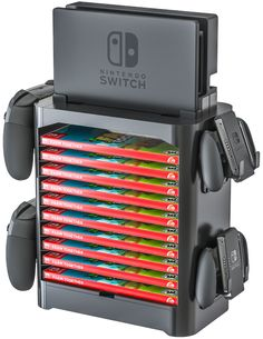 Skywin Game Storage Tower for Nintendo Switch - Stackable Game Disk Rack and Controller Organizer Compatible with Nintendo Switch and Accessories [video game] - Walmart.com